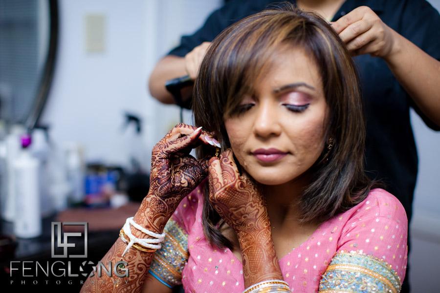 Bride Putting on Earrings | Shamz & Sana's Wedding Day 2 | Hyatt Place Atlanta Airport South | Atlanta Indian Photographer