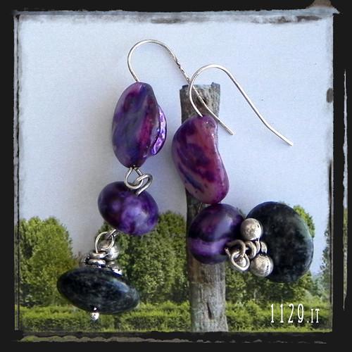 MIVIVE orecchini viola verdi pietre dure purple green gemstones earrings 1129