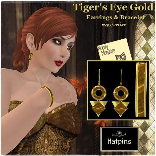 Hatpins - Tiger's Eye Gold Set - Moody Monday