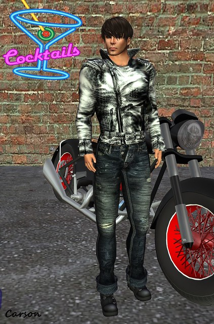 GizzA Crocodile Biker Jacket, Tainted - Brooklyn Jeans and Shoes