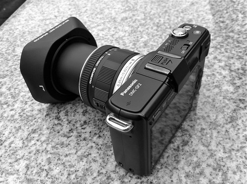 Olympus 9-18mm with hood on GF2