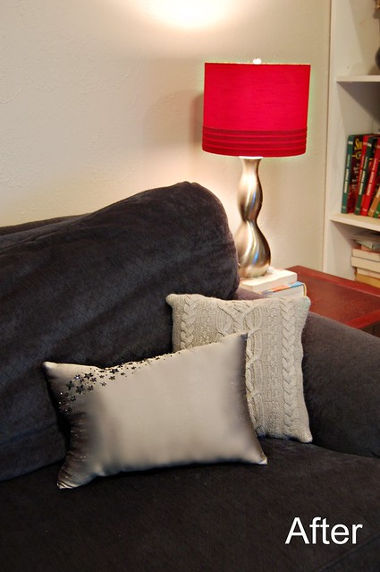 Before and After Budget Makeover Pillows