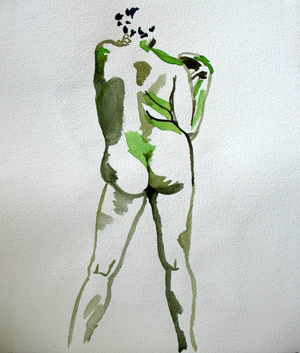 10-minute watercolor of nude woman