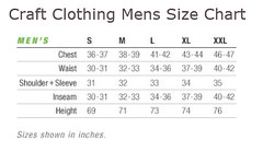 Craft Clothing Size Chart