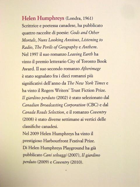 Helen Humphreys, La verità, soltanto la verità; Playground 2011. Graphic designer: Federico Borghi, alla cop.: fotg. col.: ©Diana Pinto. Risvolto della q. di cop. (part.), 1