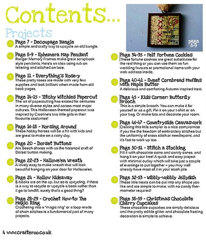Crafteroo magazine contents page