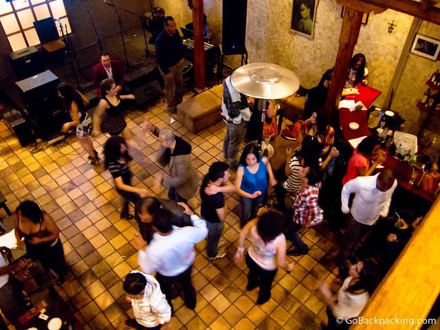 Salsa dancing at Zoe on a Saturday night