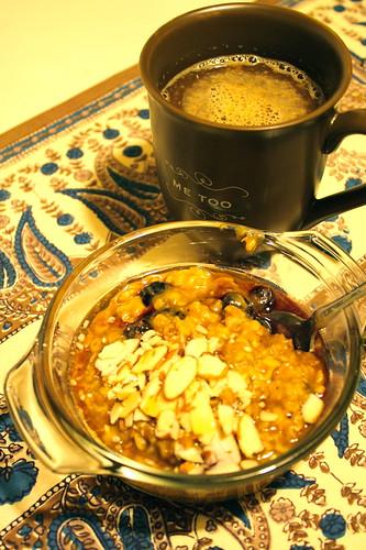 pumpkin oatmeal and coffee