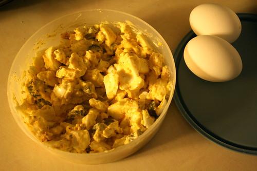 egg salad, hard boiled eggs