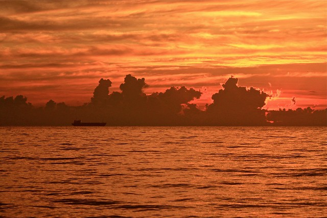 Lever de soleil sur l'océan, Miami, État-Unis