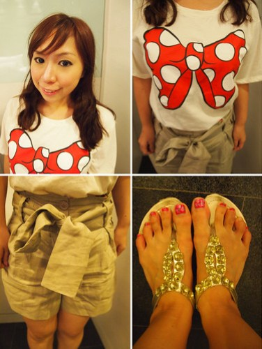 fashion blog, lookbook, Outfit of the day, outfit post, Singapore Fashion Blog, singapore lifestyle blog, Casual wear, Minnie mouse top, ribbon top, comfy shorts, bling sandals