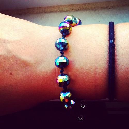 A bit of cheap sparkle - knotted bracelet by Sparkleyturtle