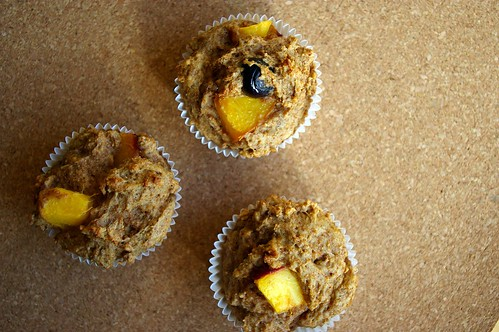 Peach-blueberry muffins