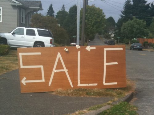 Sale sign on door