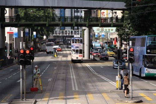 Pedestrian crossing and overbridges on the Hong Kong Tramways