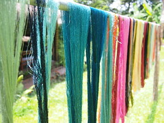 Silk thread dyed and drying in the sun, Ock Pop Tok, Luang Prabang