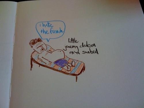 little jeremy clarkson on a sunbed
