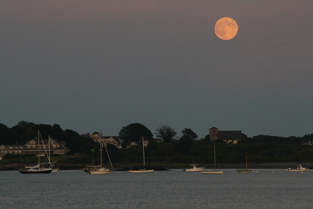 Aug. 13 full moon over Biddeford Pool