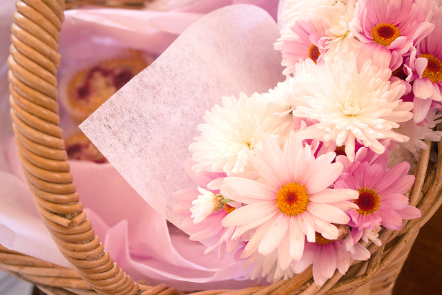basket of flowers and friands