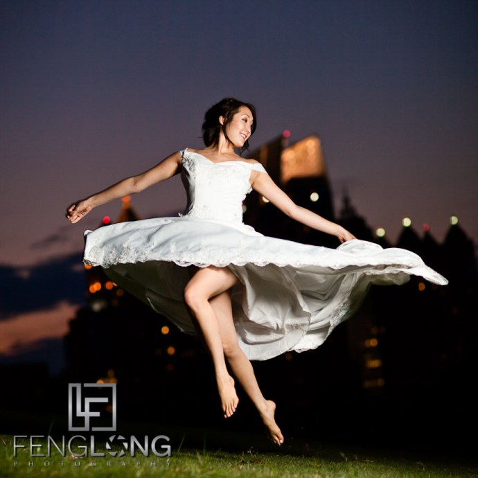 Jumping Bride!   Alice's Bridal Portrait Glamour Session   Piedmont Park   Atlanta Wedding Photographer