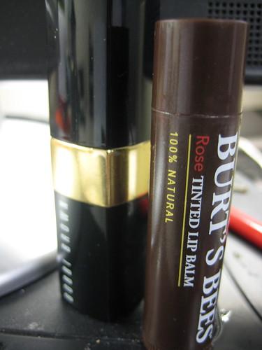 Bobbi Brown lipstick and Burt's bees rose tinted lip balm