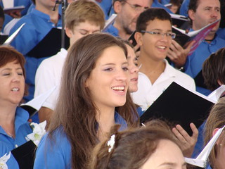 Smiling and singing
