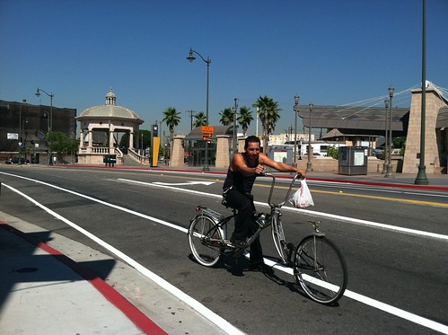 Posing in the new 1st St. bike lanes near Mariachi plaza