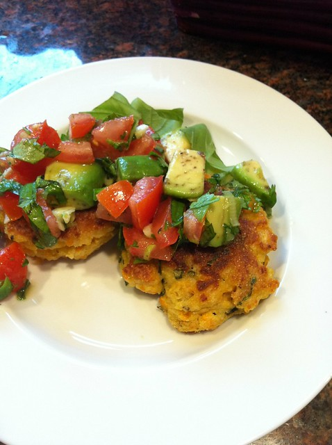 Summer Corn Cakes with Avocado and Tomato Salsa