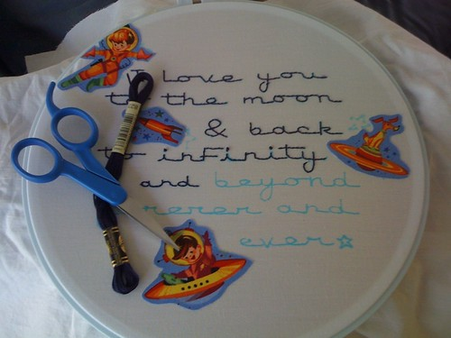 i love you to the moon embroidery