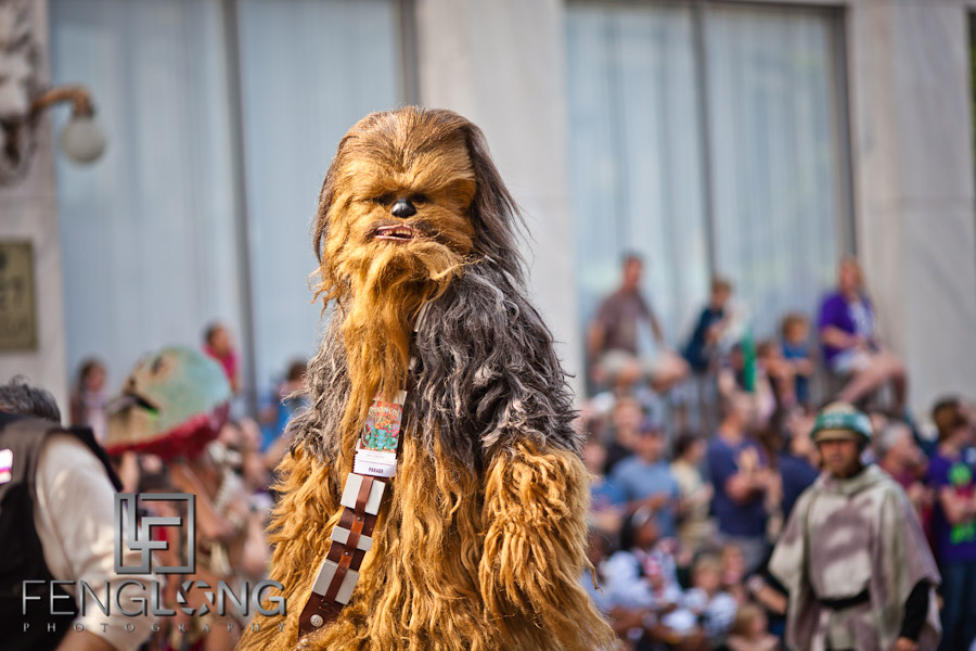 Chewbacca Cosplay at the 25th Anniversary Dragon Con Parade 2011 on Peachtree Street in Downtown Atlanta