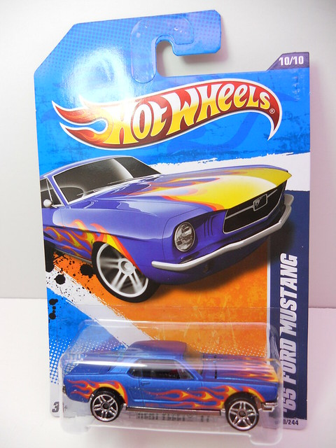 hot wheels '65 ford mustang blue w flames (1)