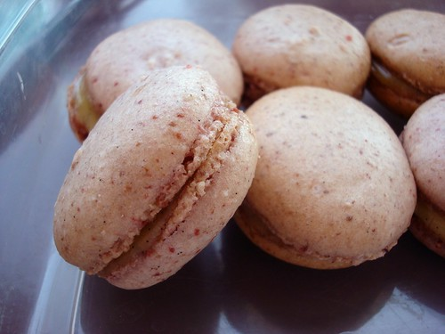 strawberry and vanilla macarons