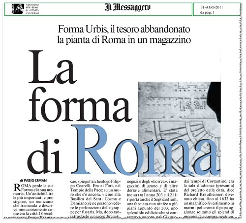 Roma - La Forma Urbis, il tesoro abbandonato la pianta di Roma in un magazzino. Il Messaggero (30/08/2011), p. 1. by Martin G. Conde