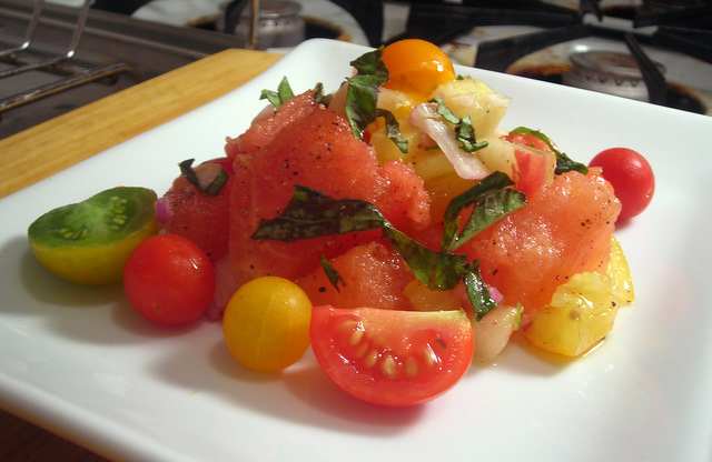 Heirloom tomato salad, with watermelon and white peaches