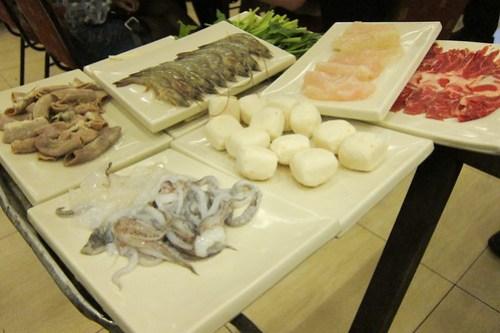 Shabu-shabu ingredients at Golden Fortune