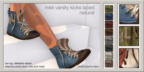 MIEL VARSITY KICKS LACED - natural @ The Deck