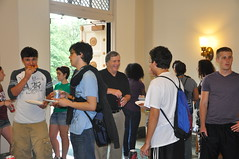 Students mingle with faculty members