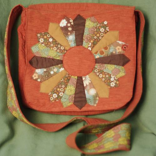 Quilted Dresden flower messenger bag