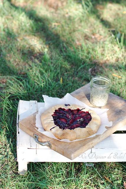Plum crostada in a garden