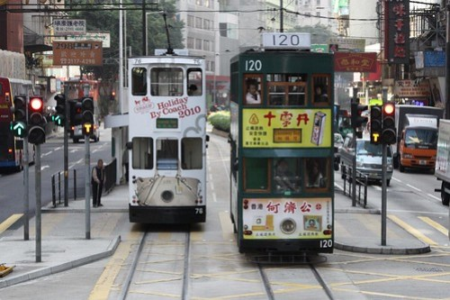 Hong Kong trams #76 and #120 cross in Wan Chai