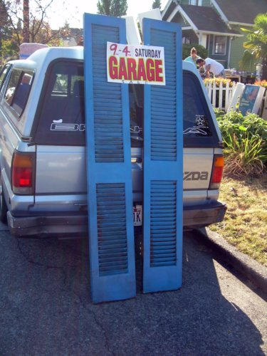 Garage sale shutters