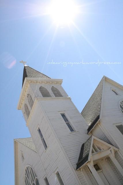 church with sunburst