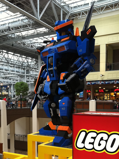 A massive Lego mech guards shoppers in the Mall of America.