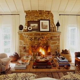 cozy stone fireplace
