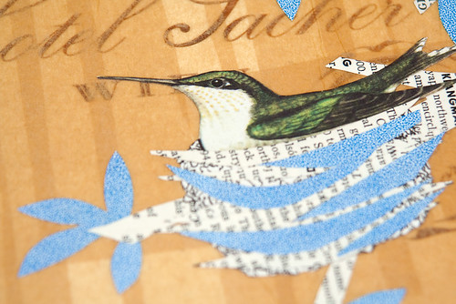 Upcycled collage Hummingbirds-3