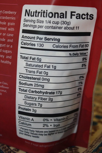 Love Grown Granola Nutritional Facts Sweet Cranberry Pecan