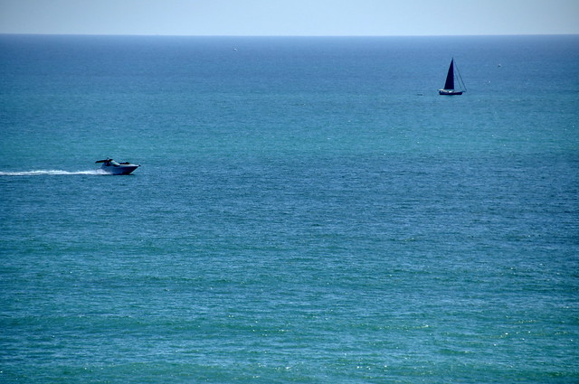 Speedboat and Sailboat in Dana Point, CA