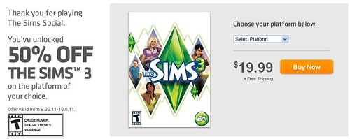 The Sims 3 + 50% Off = Awesome! + Origin = Cool
