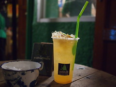 Lime, honey, sour plum drink at NokBan Cafe, Talad Rod Fai, Bangkok