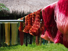 Silk threads dyed and drying in the sun, Ock Pop Tok, Luang Prabang